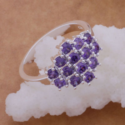 Solid 925 Sterling Silver Ring Women Jewelry Silver Girl Cute purple Ring Gift