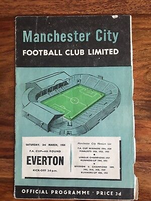 Manchester City v Everton 3/3/1956 FA Cup 6th Round