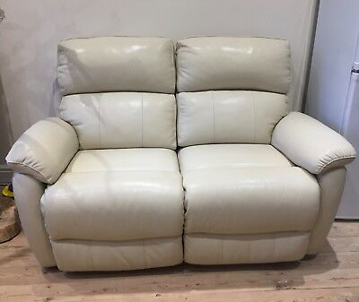 Dfs Cream Leather 2 Seater Electric Recliner
