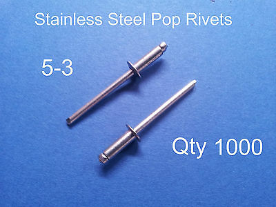 """1000 POP RIVETS STAINLESS STEEL BLIND DOME 5-3 4mm x 8.6mm 5/32"""""""