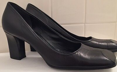 Retro Heels Prada Black Leather Modern Vintage Shoes Size 39.5 Holiday Party