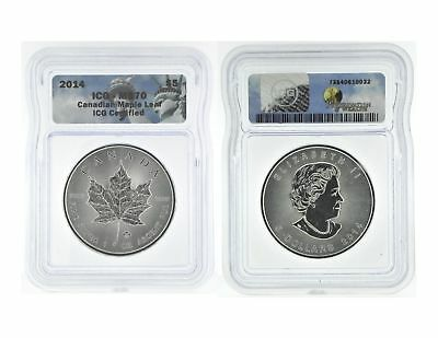 2014 $5.00 .9999 Silver Canadian Maple Leaf Graded by ICG MS 70 Nice Coin