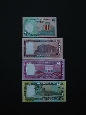 BANGLADESHI BANKNOTES LOVELY  SET OF FOUR  -  Date  2012 - 2014      Mint UNC