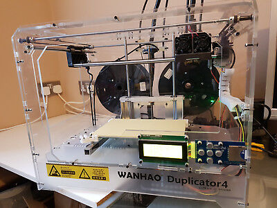 Wanhao duplicator 4 3D printer  UPGRADED Aluminium Bed  DUAL HEAD LIGHTLY USED