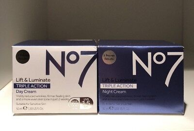 No7 LIFT & AND LUMINATE TRIPLE ACTION DAY & NIGHT CREAM 2 X 50ML UK SELLER
