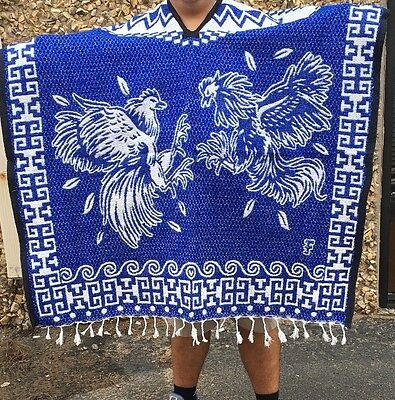Adult Mexican Poncho,Fighting roosters , Blanket, Serape,Gaban , BLUE,Costume