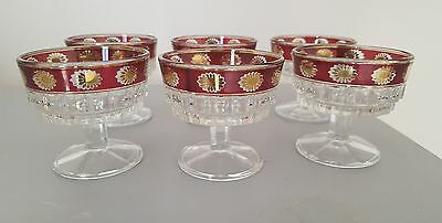 Vintage Ruby Overlay Glass Ice Cream Dessert Fruit Dishes Italy X6