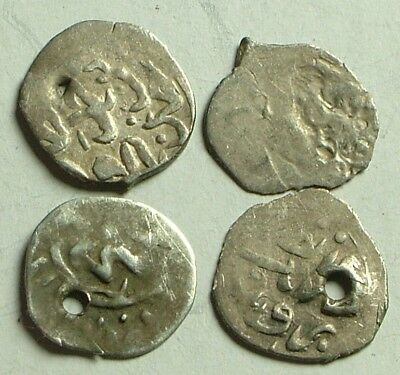 Lot 4 original Islamic silver billon akce AKCHE coins, Ottoman Empire 16 Century
