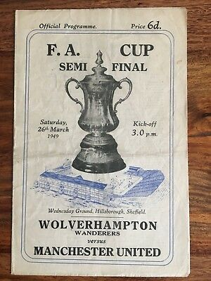 Wolverhampton Wanderers v Manchester United FA Cup semi final 1949