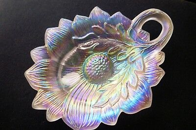 Contemporary Fenton Sunflower Carnival Glass Pin Tray Stunning Color