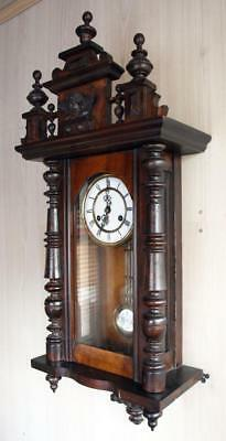 Antique GERMAN WALL CLOCK WOOD CARVED cherub DRP FMS MAUTHE