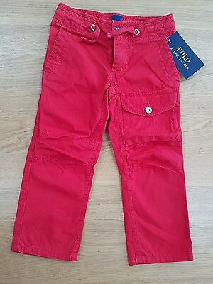 RALPH LAUREN Young boy Chino distress Red CARGO trousers Pants NWT Sze 2 years