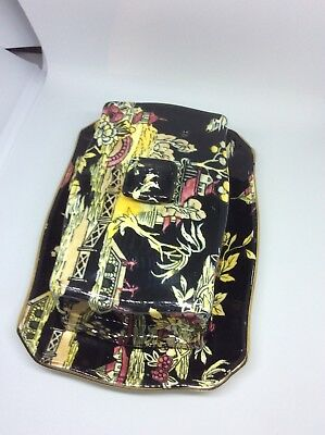 Royal Winton Pekin Black With Gold Trim covered butter dish