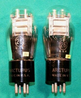 n. 2 valvole triodo tipo 26 ARCTURUS pair of 26 ST tubes tests STRONG