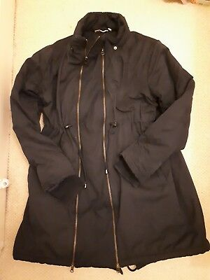 Jojo Maman Bebe maternity hooded coat jacket padded navy zip 12 medium winter