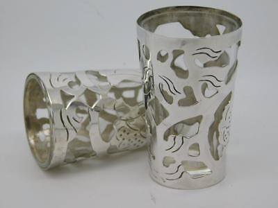 Sterling Silver Pair of Stirrup Cups by Ari D Norman 1982 Glass Linings Boxed