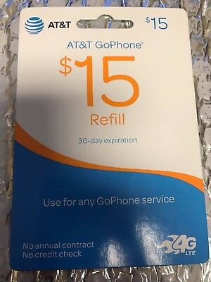 Brand New AT&T Go Phone $15 Refill Card