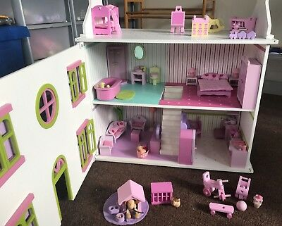 Wooden Dolls House With Lots Of Accessories