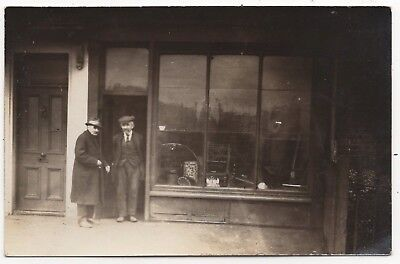 Two Old Men Outside Secondhand / Junk Shop Old Real Photo Postcard