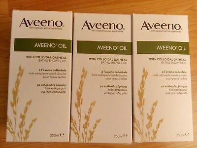 3x Aveeno oil 250ml new with colloidal oatmeal bath&shower oil new long use date
