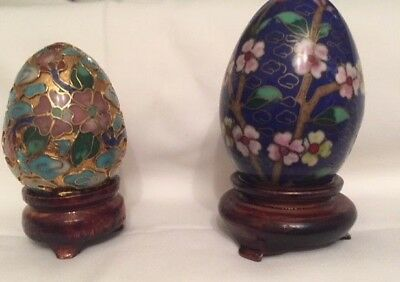 Pair (Two) Oriental / Japanese decorated Eggs (With Stands)