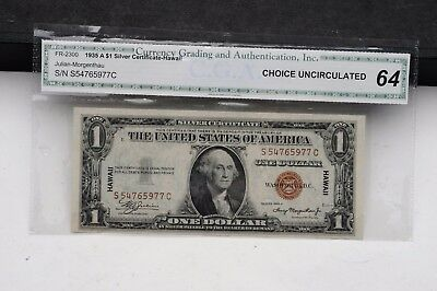 1935 A $1 Silver Certificate Hawaii FR 2300 CGA Choice Uncirculated 64