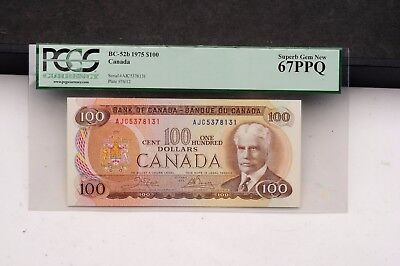1975 Canada $100 Bill BC-52b PCGS Superb Gem New 67 PPQ