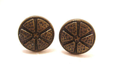 Pair Arts and Crafts Hammered Metal Drawer Cabinet Pulls Knobs Italy 1.25 In.