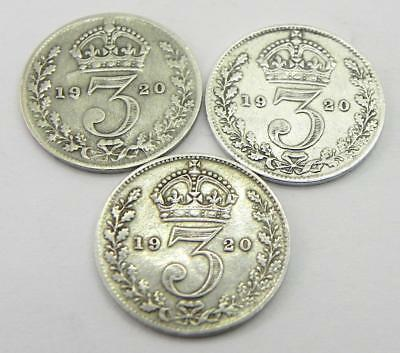 Antique Silver Three Pence Coin Collection, 1920.