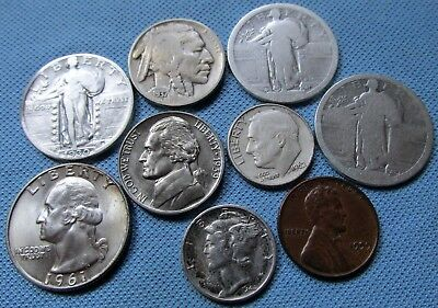 Nice Mixed Lot of US Coins w/Silver 1930-1961 From an Old Collection (MJN)