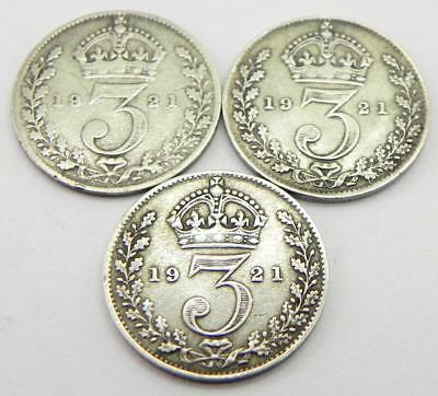 Antique Silver Three Pence Coin Collection, 1921.