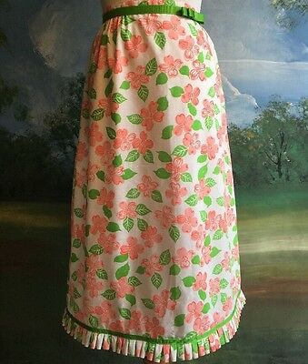 Vintage 70s LILLY PULITZER The Lilly Pink Green Floral Skirt Eyelet Petticoat S