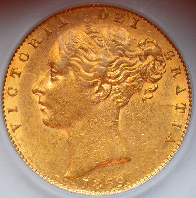 LUSTROUS 1869 Queen Victoria Gold Shield Sovereign (Die Number 43)