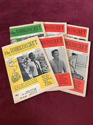 Vintage 1955s Workbasket Magazine Lot of 6 Crochet Needlework Knit Patterns