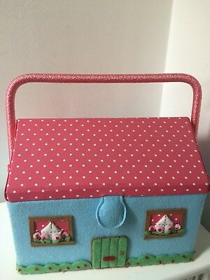 New Cath Kidston Cottage House Sewing Basket / Box
