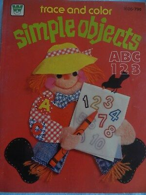 Vintage Whitman  Trace And Color Book Simple Objects ABC 123 NEW OLD STOCK #1626
