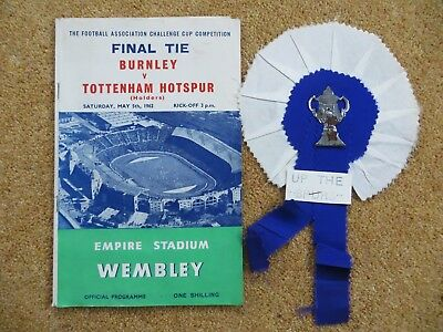 football programme Burnley v Tottenham F.A cup final with inclusions
