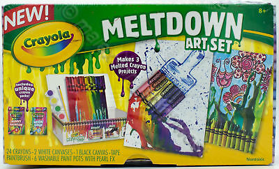 Crayola Meltdown Art Set Attach crayons to art canvases and heat with hairdryer!