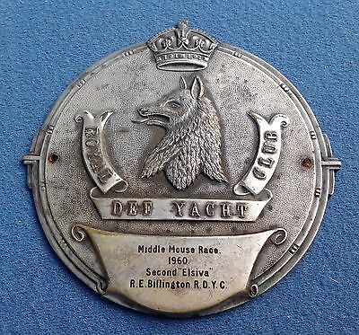 9.5cm SAILING ROYAL DEE YACHT CLUB MIDDLE MOUSE BOAT RACE PLAQUE 1960