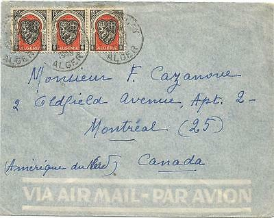 ALGERIA POSTAL HISTORY COVER with 1949 ALGIERS COAT OF ARMS STAMPS