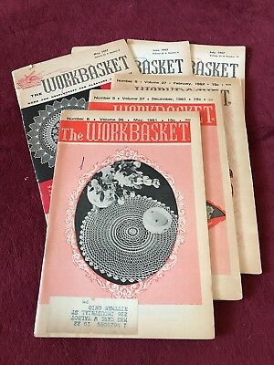 Vintage 1950s Workbasket Magazine Lot of 6 Crochet Needlework Knit Patterns