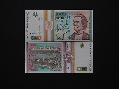 ROMANIAN BANKNOTES 1000 LEI  p102  - 1993 Great Notes & Rare Serials    Mint UNC