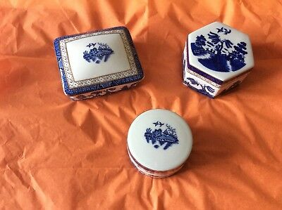 Booths/Royal Doulton - 3 Real Old Willow Trinket Boxes