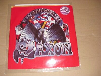 """12"""" Very Rare """" ROCK THE NATIONS """" SAXON In Limited Edition Clear Vinyl Pressing"""