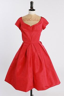 Vintage original 50s red pink cocktail dress by Strohbach 10 S