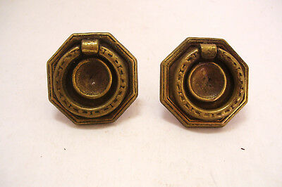 Arts and Crafts Pair Octagonal Brass Drawer Pulls with Drop Ring 1 5/8 Inch Vtg