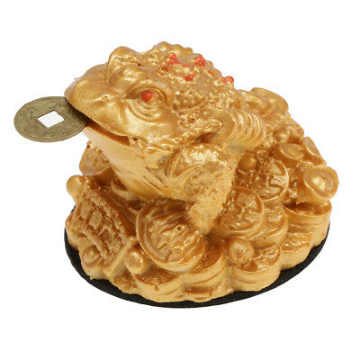 Money LUCKY Fortune Ching Frog Toad Coin Home Offie Feng Shui Decoration