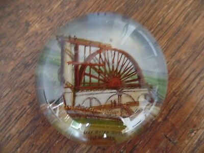 Victorian Glass Paperweight Laxey Water Wheel Isle Of Man