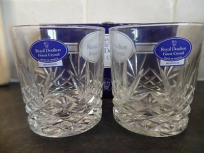 Two Royal Doulton Crystal Glass Monique Pattern Whisky Tumblers 1St Quality