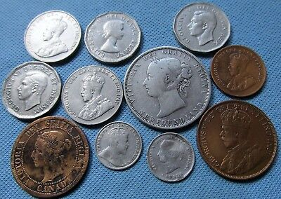 Mixed Lot of Canada Coins w/Silver 1882-1956 From an Old Collection (MJN)